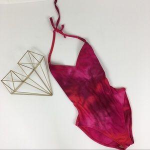 Halter Top One Piece Tie Dyed Swimsuit
